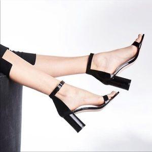 STUART WEITZMAN 75 Less Nudist Black Patent Heels